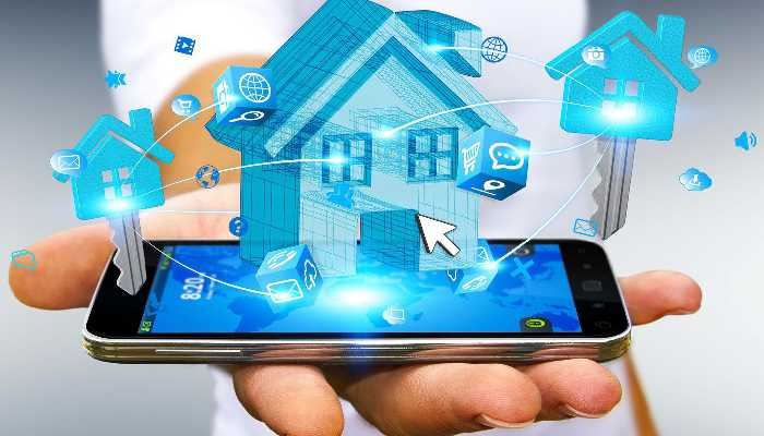 A mobile phone with house and locks in graphics depicting home automation systems.